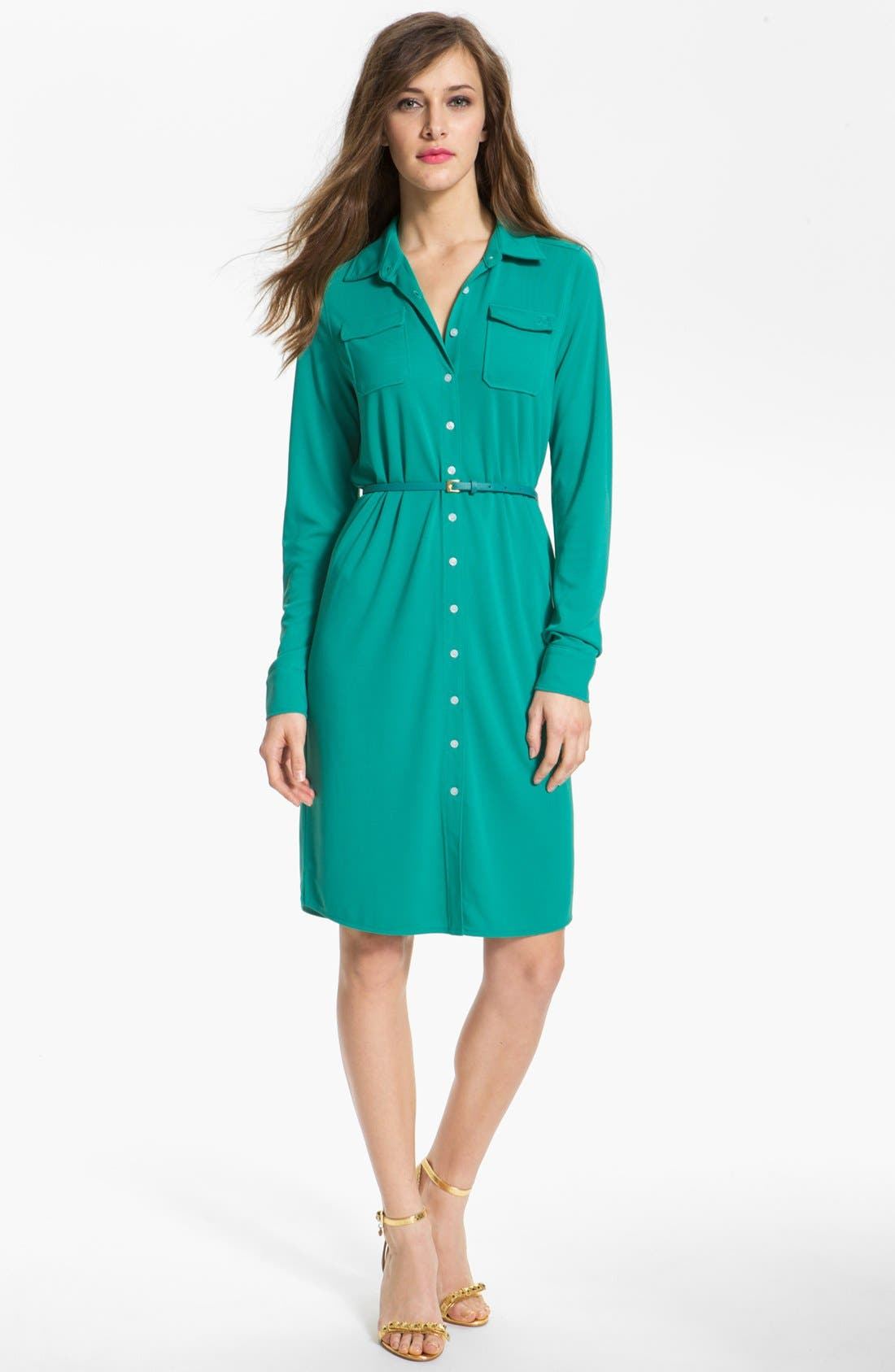 Main Image - Anne Klein 'Leo' Roll Sleeve Shirtdress