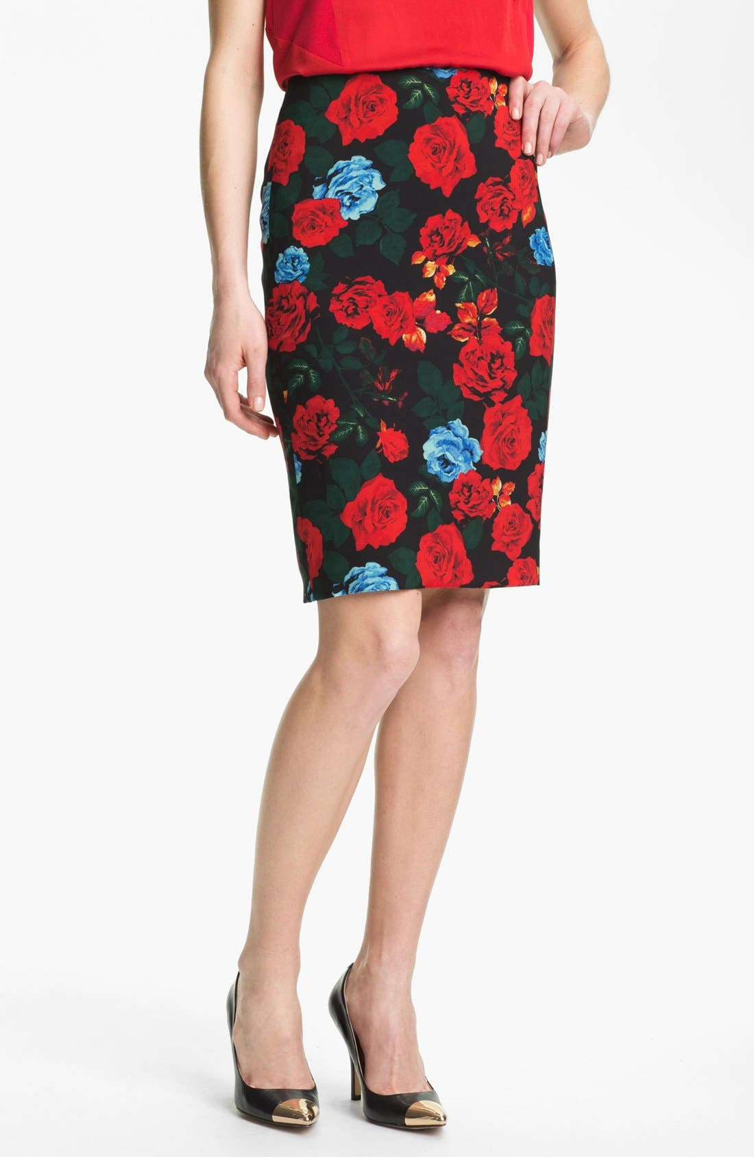 Alternate Image 1 Selected - Vince Camuto Rose Print Pencil Skirt