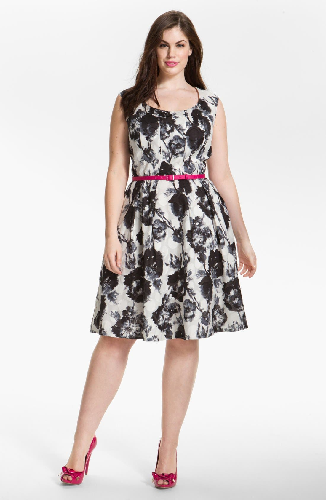 Main Image - Donna Ricco Floral Print Fit & Flare Dress (Plus Size)