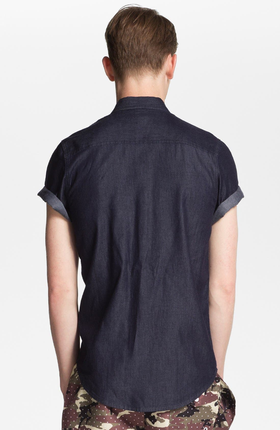 Alternate Image 2  - Topman 'Smart' Short Sleeve Chambray Denim Shirt