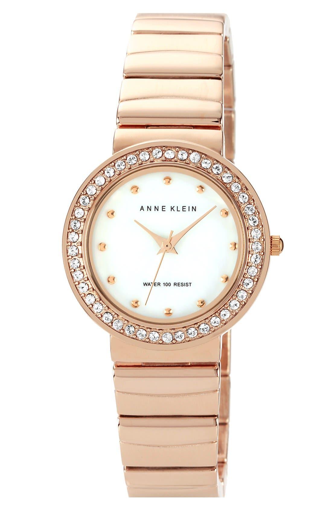 Main Image - Anne Klein Crystal Bezel Bracelet Watch, 30mm
