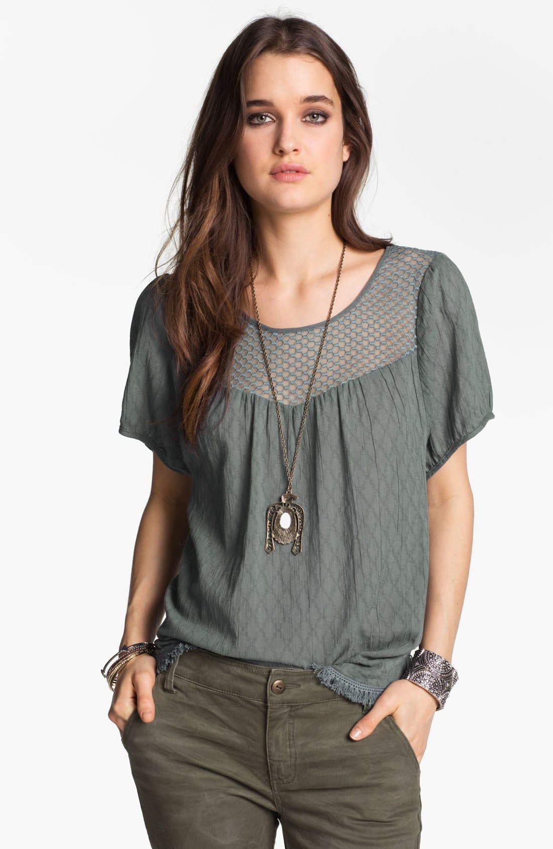 Main Image - Free People 'Geo Boho' Peasant Top
