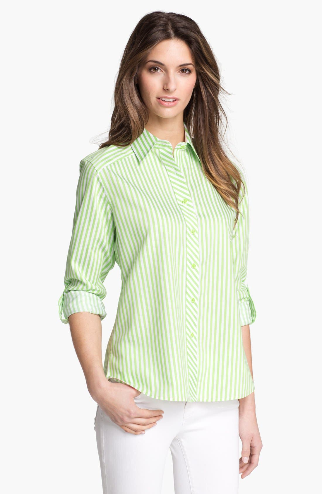 Main Image - Foxcroft Roll Sleeve Stripe Shirt