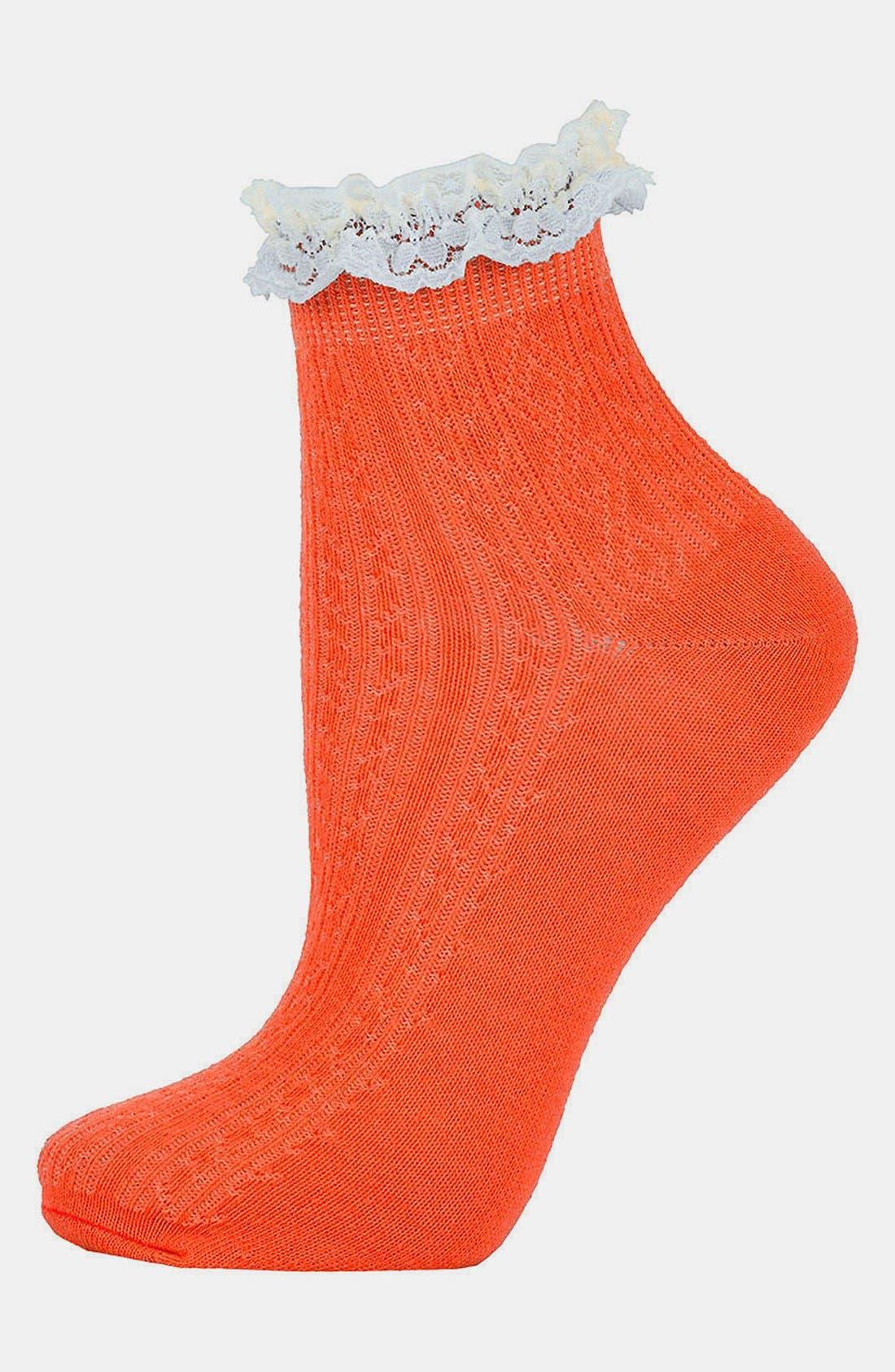 Main Image - TOPSHOP Lace Trim Ankle Socks