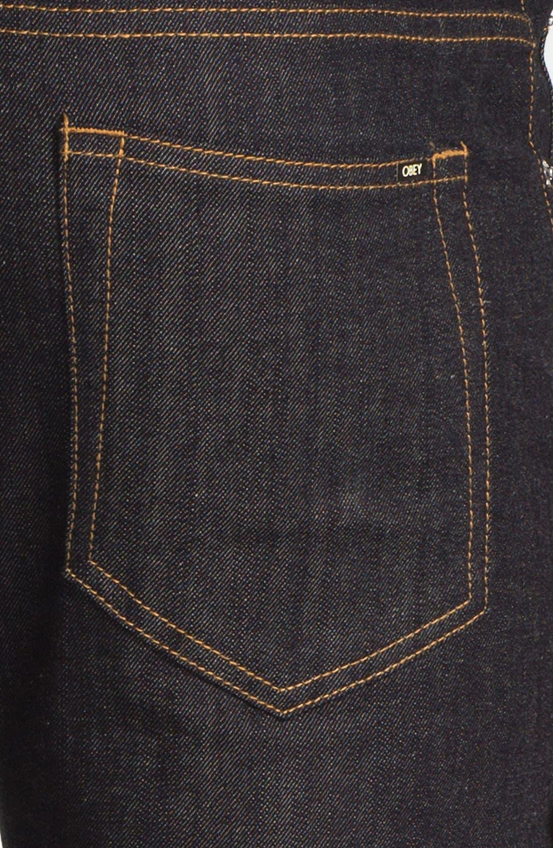 Alternate Image 4  - Obey 'Juvee' Slim Fit Selvedge Jeans (Raw Indigo)