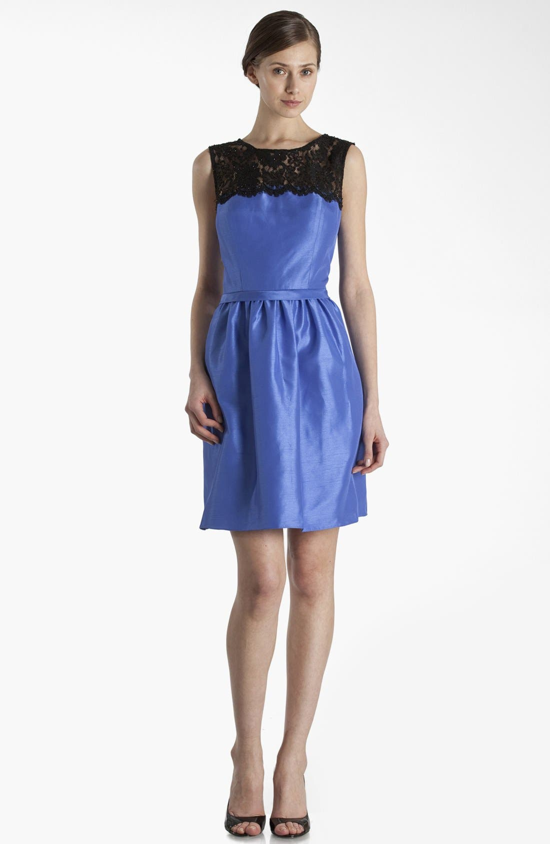 Alternate Image 1 Selected - JS Boutique Lace Yoke Fit & Flare Dress