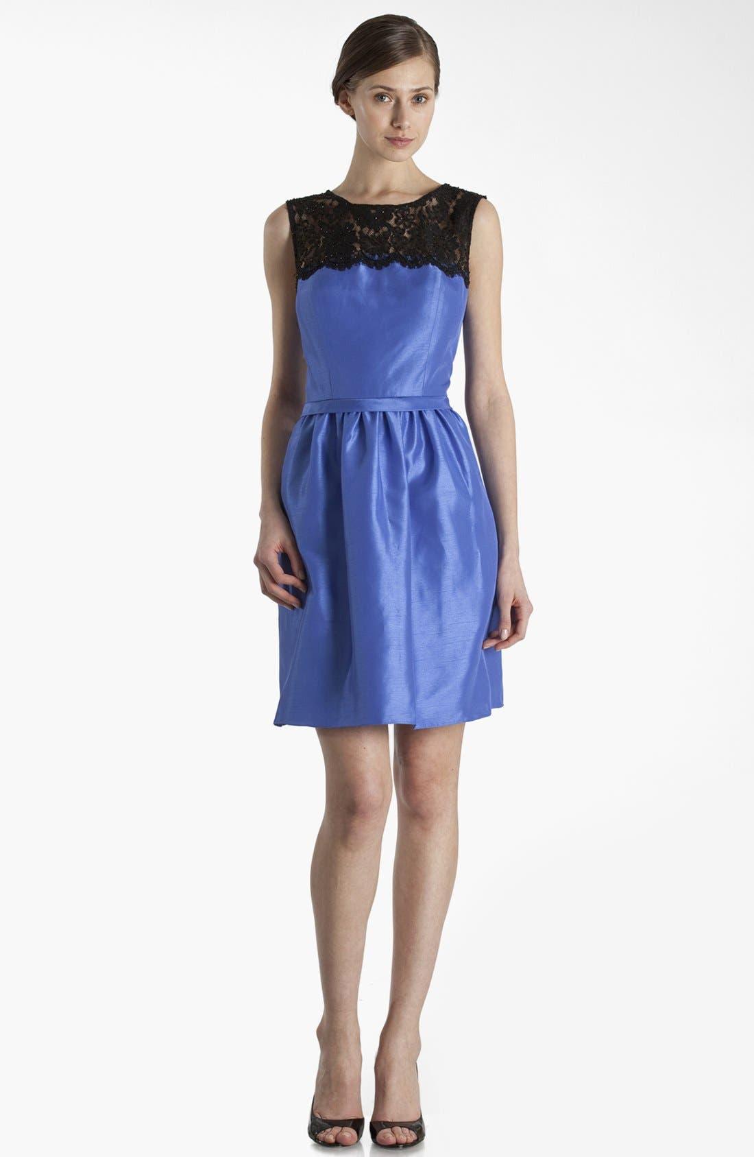 Main Image - JS Boutique Lace Yoke Fit & Flare Dress