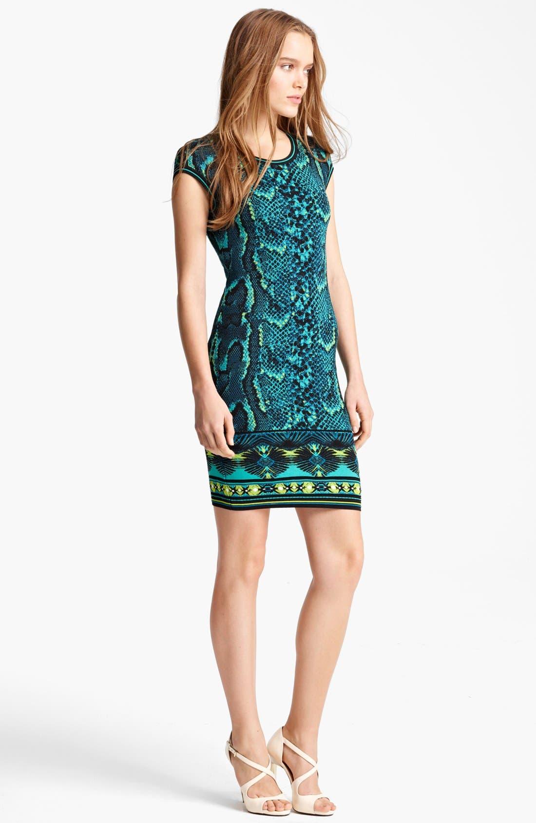 Main Image - Roberto Cavalli Cap Sleeve Snake Print Dress