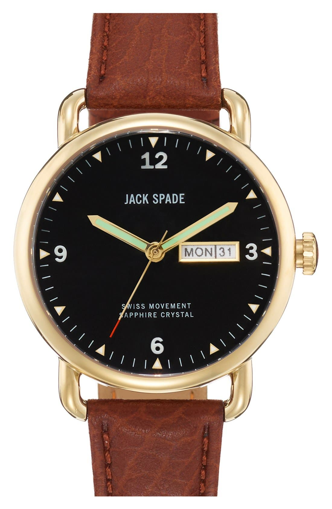 Alternate Image 1 Selected - Jack Spade 'Buckner' Leather Strap Watch, 42mm