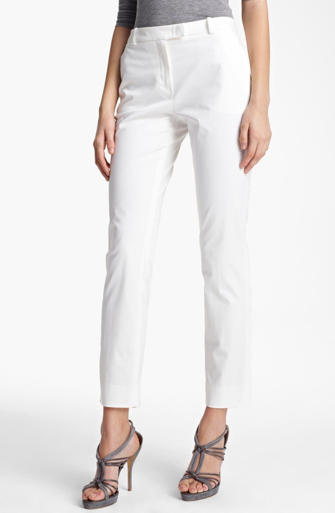 Alternate Image 1 Selected - Armani Collezioni Slim Stretch Cotton Pants
