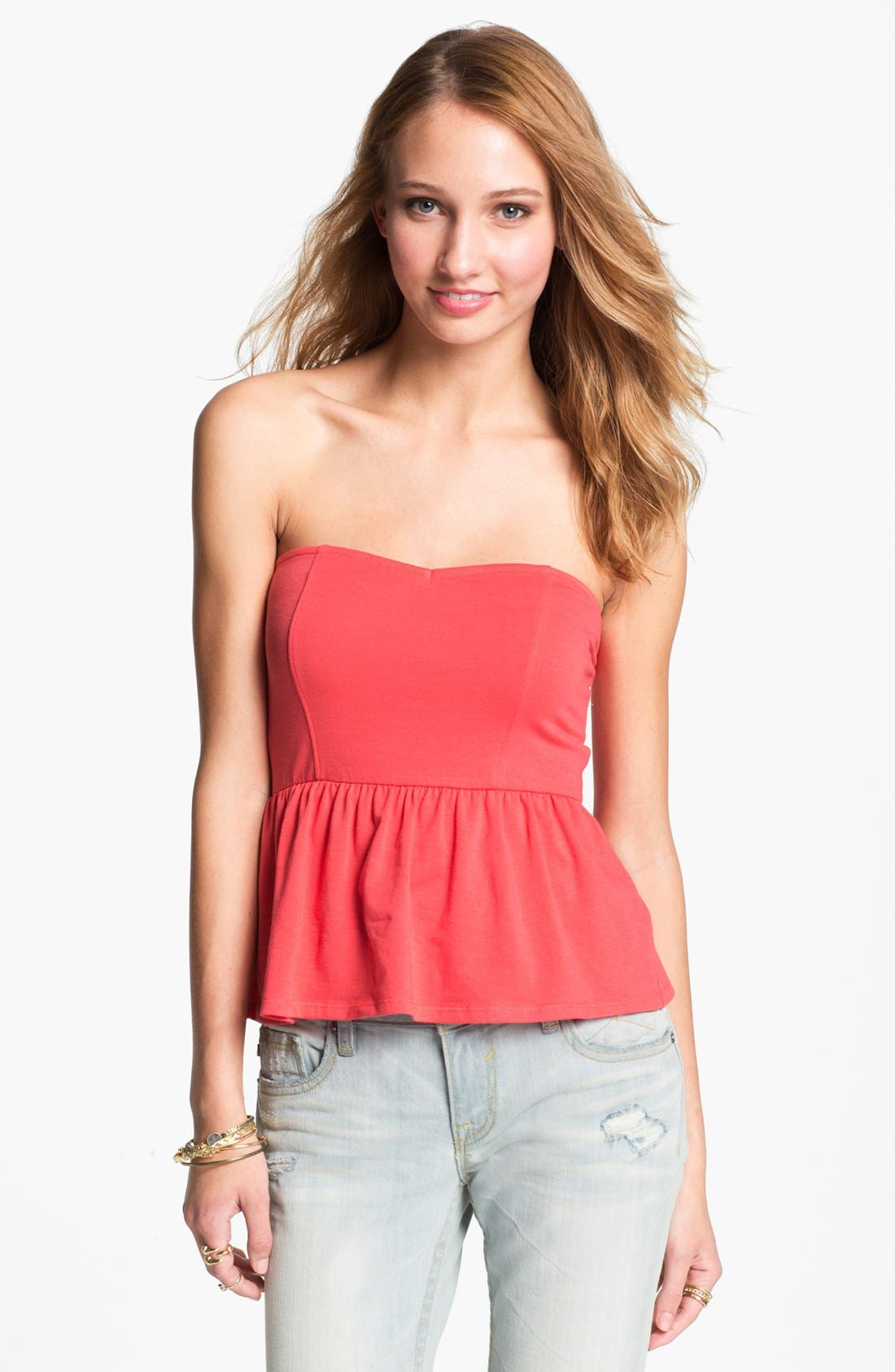 Alternate Image 1 Selected - Painted Threads Strapless Peplum Top (Juniors) (Online Only)