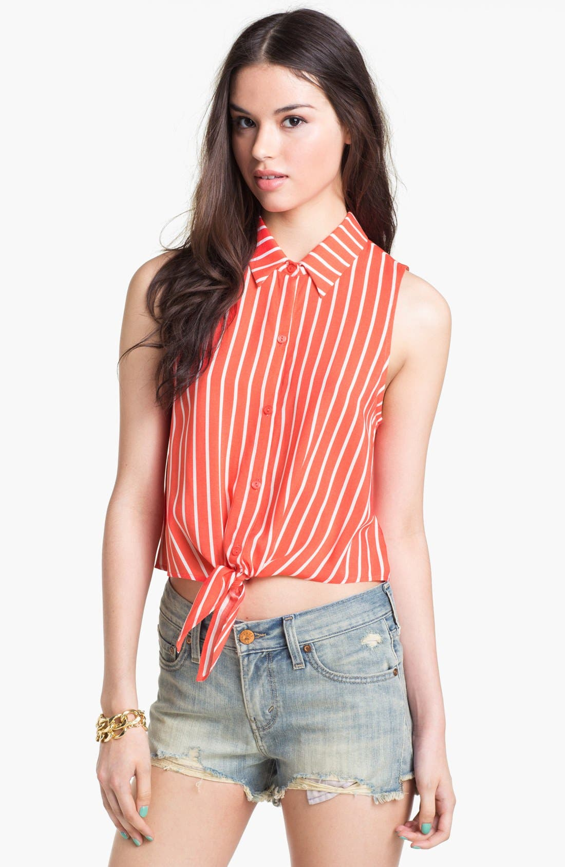 Alternate Image 1 Selected - Lush Crop Tie Front Shirt (Juniors)