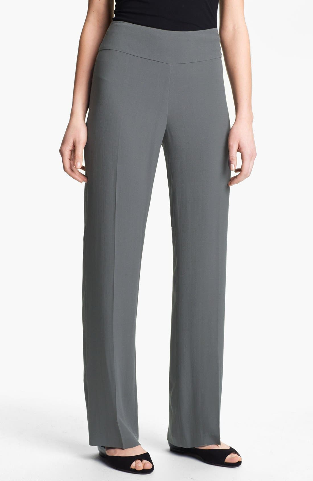 Alternate Image 1 Selected - Eileen Fisher Silk Georgette Crepe Pants (Petite)