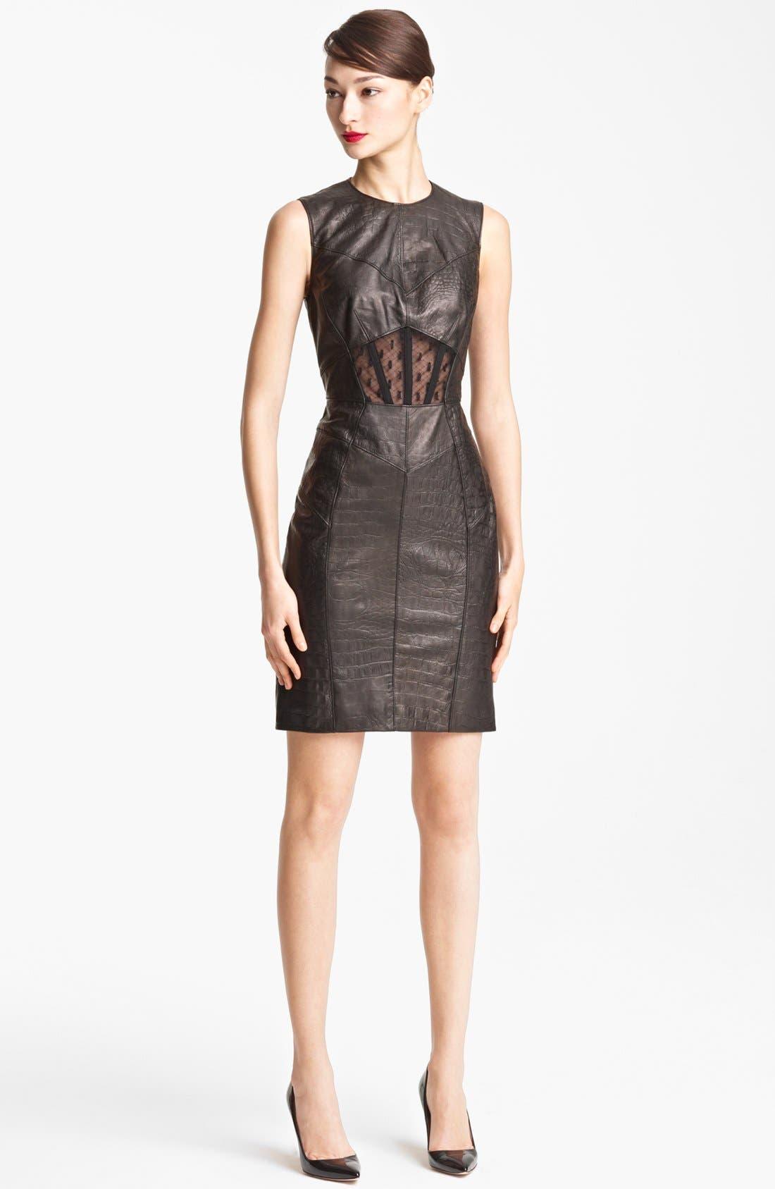Alternate Image 1 Selected - Jason Wu Embossed Leather Sheath Dress