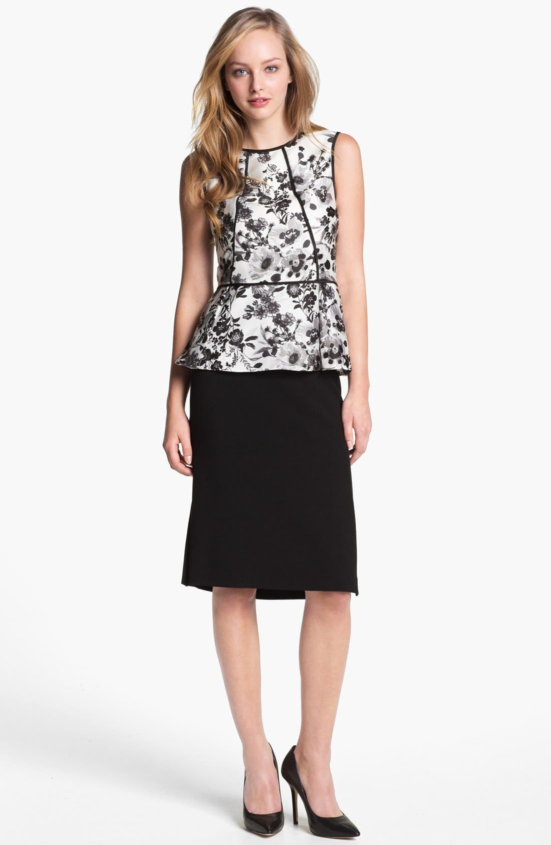 Alternate Image 1 Selected - Vince Camuto Garden Print Peplum Blouse