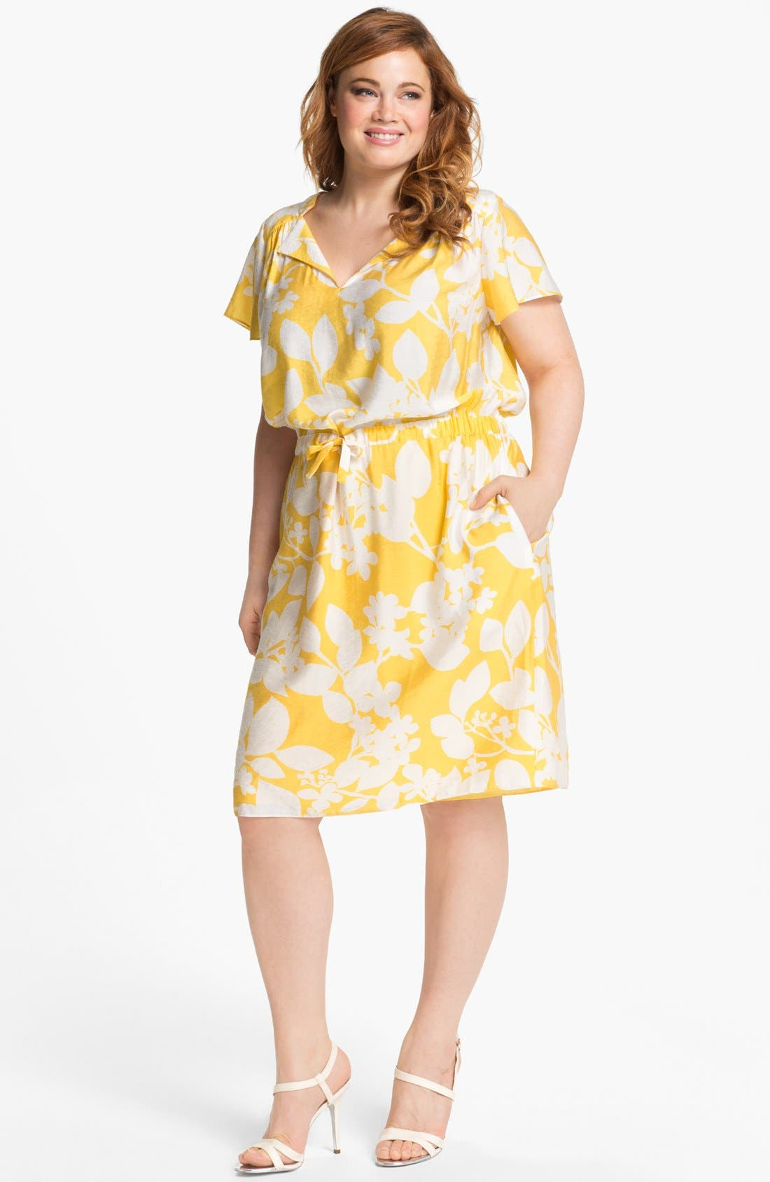 Alternate Image 1 Selected - Adrianna Papell Print Shirtdress (Plus Size)