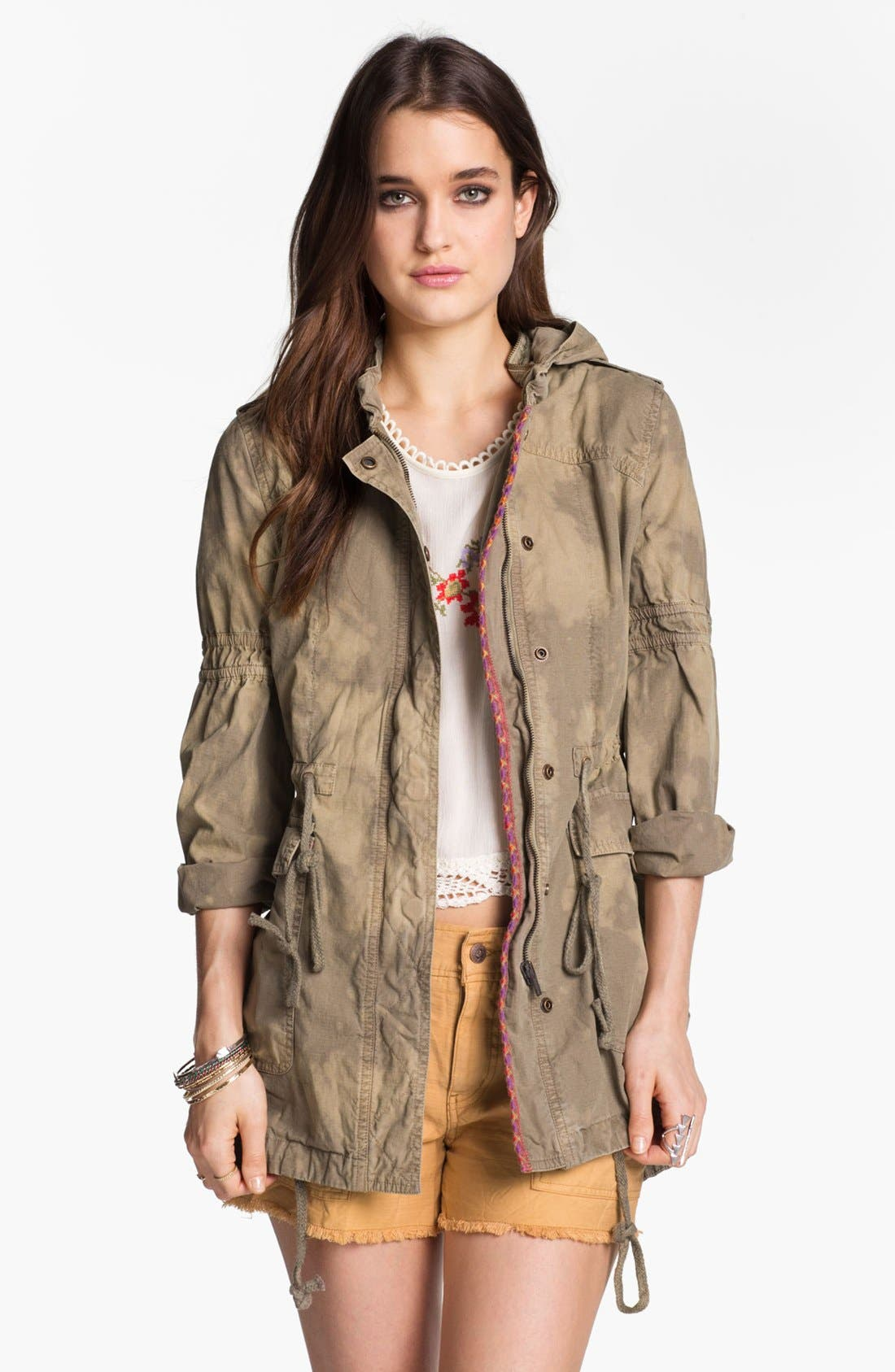 Main Image - Free People 'Festival' Embroidered Tie Dye Anorak