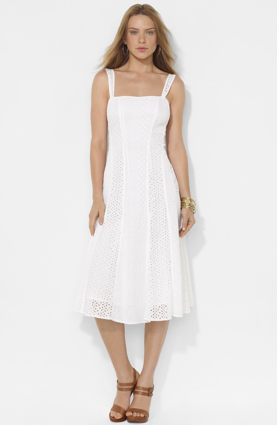 Alternate Image 1 Selected - Lauren Ralph Lauren Eyelet Panel Dress