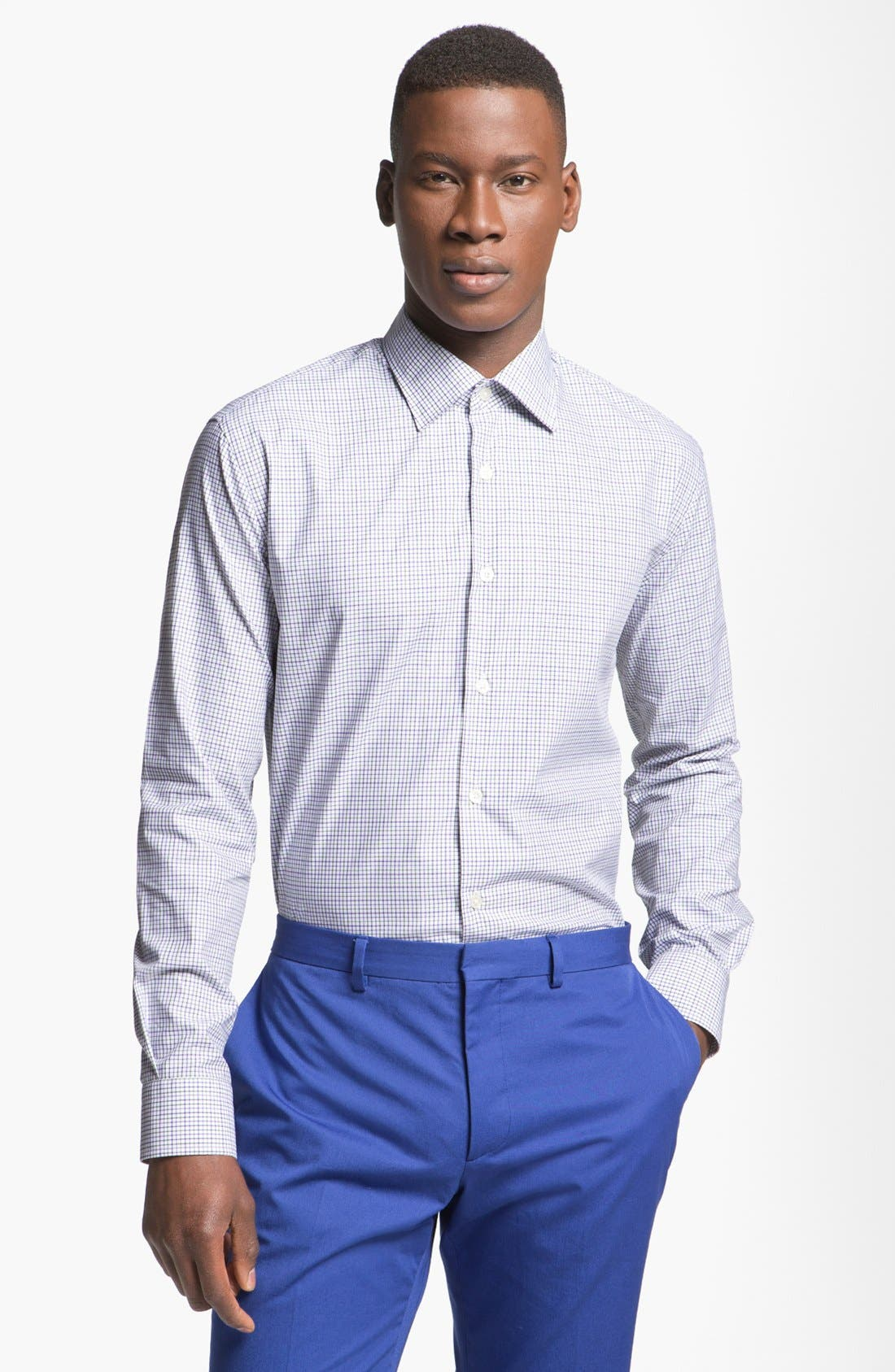 Alternate Image 1 Selected - Paul Smith London Slim Fit Tattersall Dress Shirt