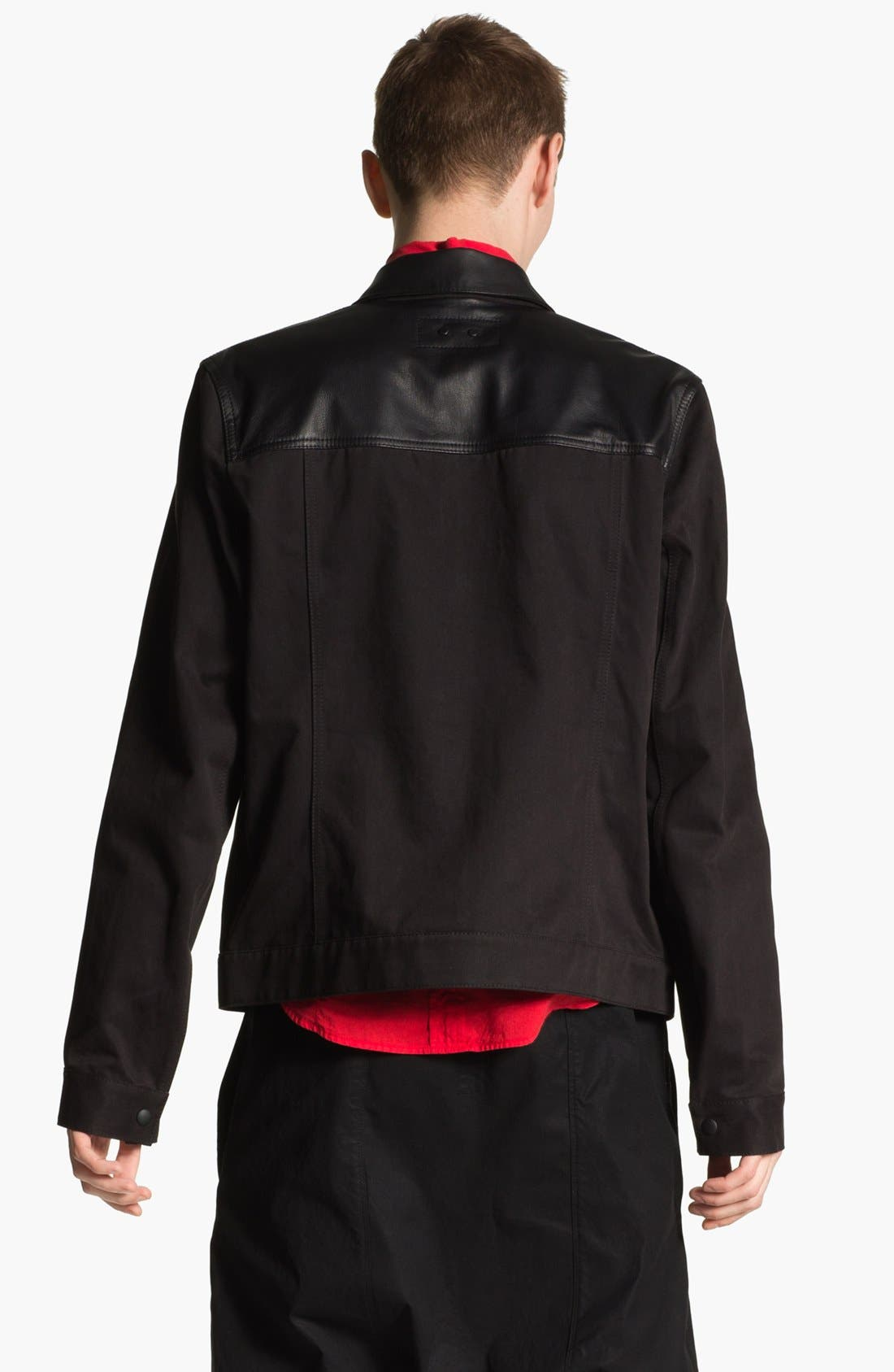Alternate Image 2  - T by Alexander Wang Cotton & Leather Bomber Jacket