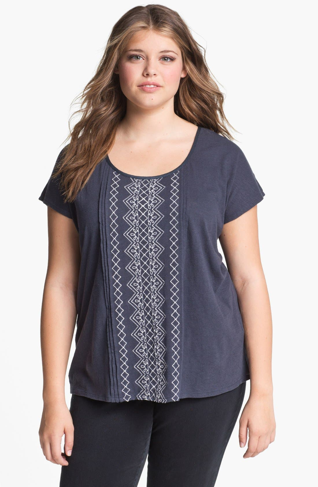 Alternate Image 1 Selected - Lucky Brand 'Lillian' Button Back Tee (Plus)