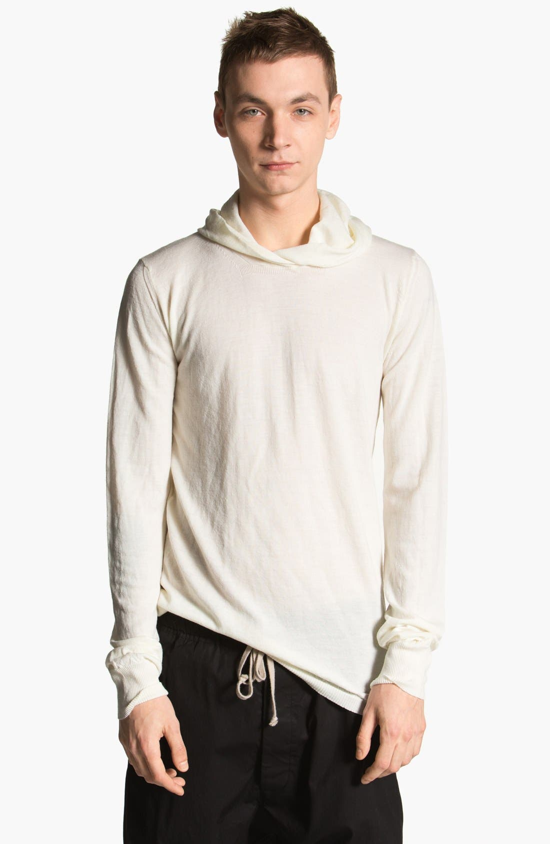 Main Image - Rick Owens 'Island' Hooded Merino Wool Sweater