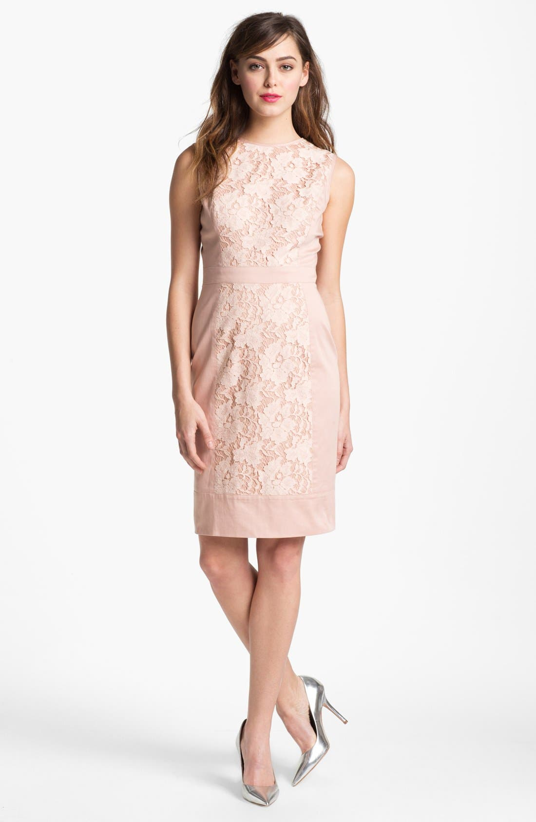 Alternate Image 1 Selected - Maggy London Lace Panel Sheath Dress