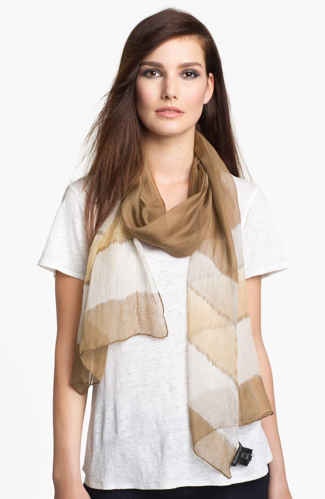 Alternate Image 1 Selected - Eileen Fisher 'Shibori Bands' Silk Chiffon Scarf (Petite)