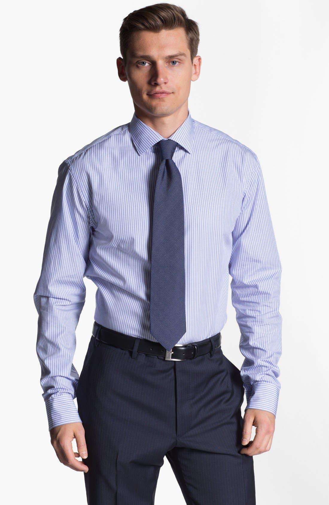 Alternate Image 1 Selected - Armani Collezioni Trim Fit Stripe Cotton Dress Shirt