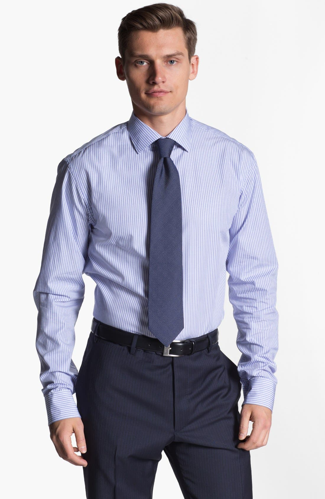 Main Image - Armani Collezioni Trim Fit Stripe Cotton Dress Shirt