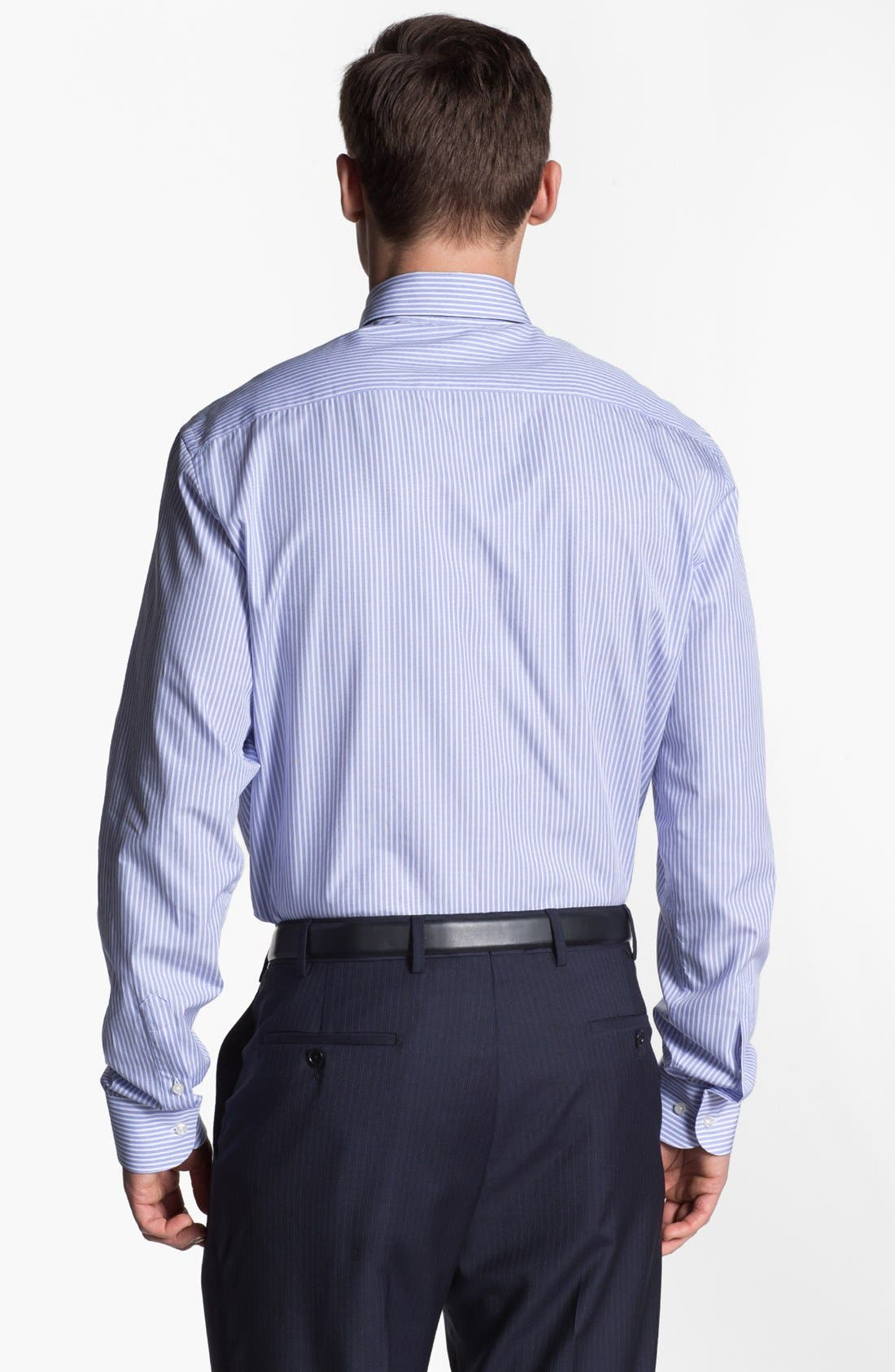 Alternate Image 2  - Armani Collezioni Trim Fit Stripe Cotton Dress Shirt