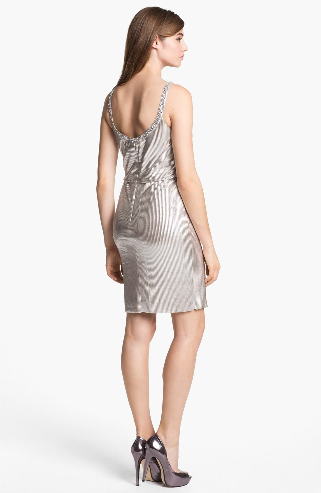 Alternate Image 2  - Hailey by Adrianna Papell Embellished Metallic Dress