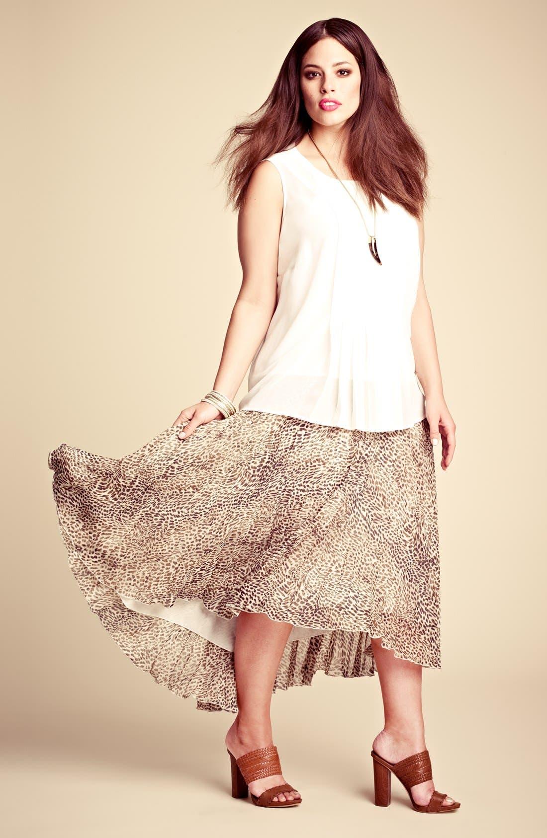 Alternate Image 4  - Vince Camuto Cheetah Print Chiffon Skirt (Plus Size)