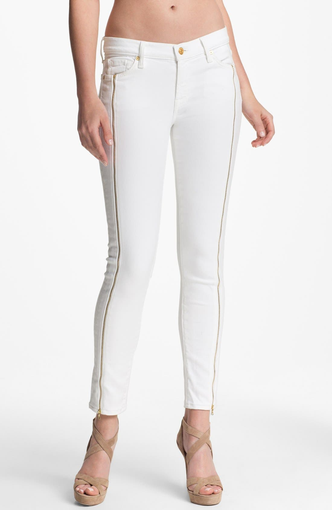Main Image - 7 For All Mankind® 'The Cropped Skinny' Zip Trim Jeans