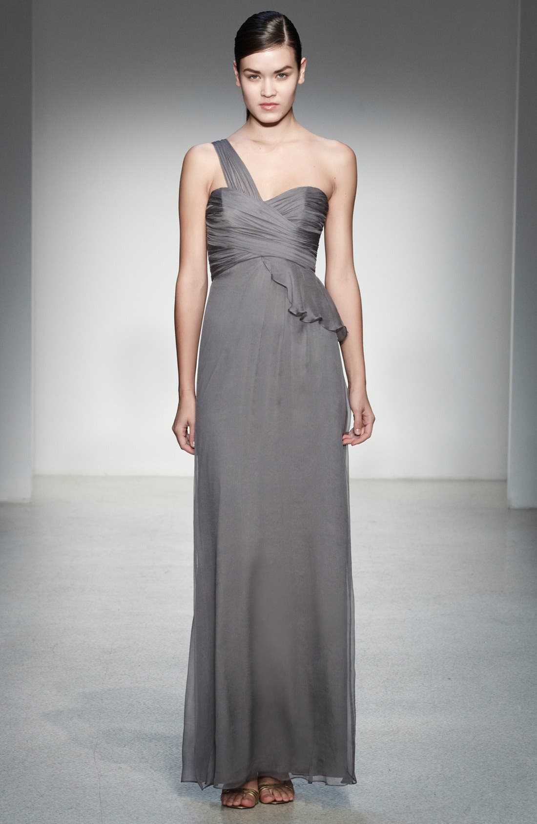 Alternate Image 4  - Amsale One-Shoulder Silk Gown