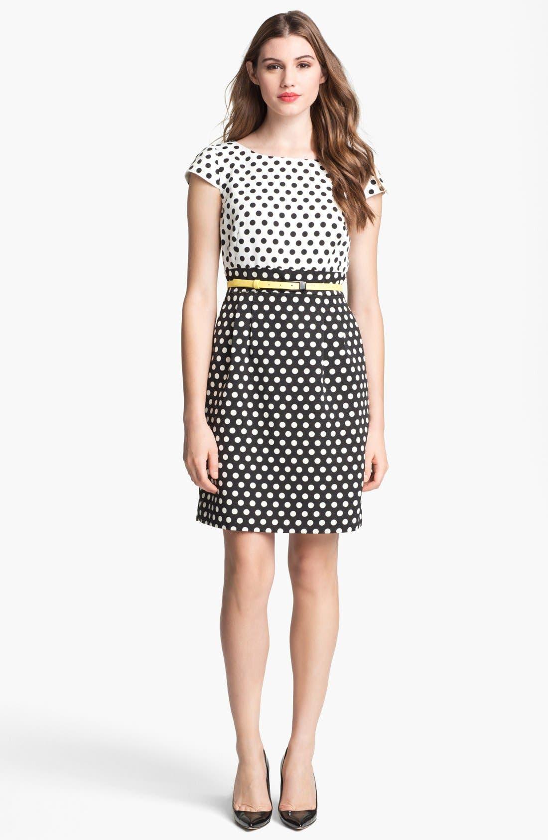 Alternate Image 1  - Tahari Polka Dot Belted Sheath Dress (Petite)