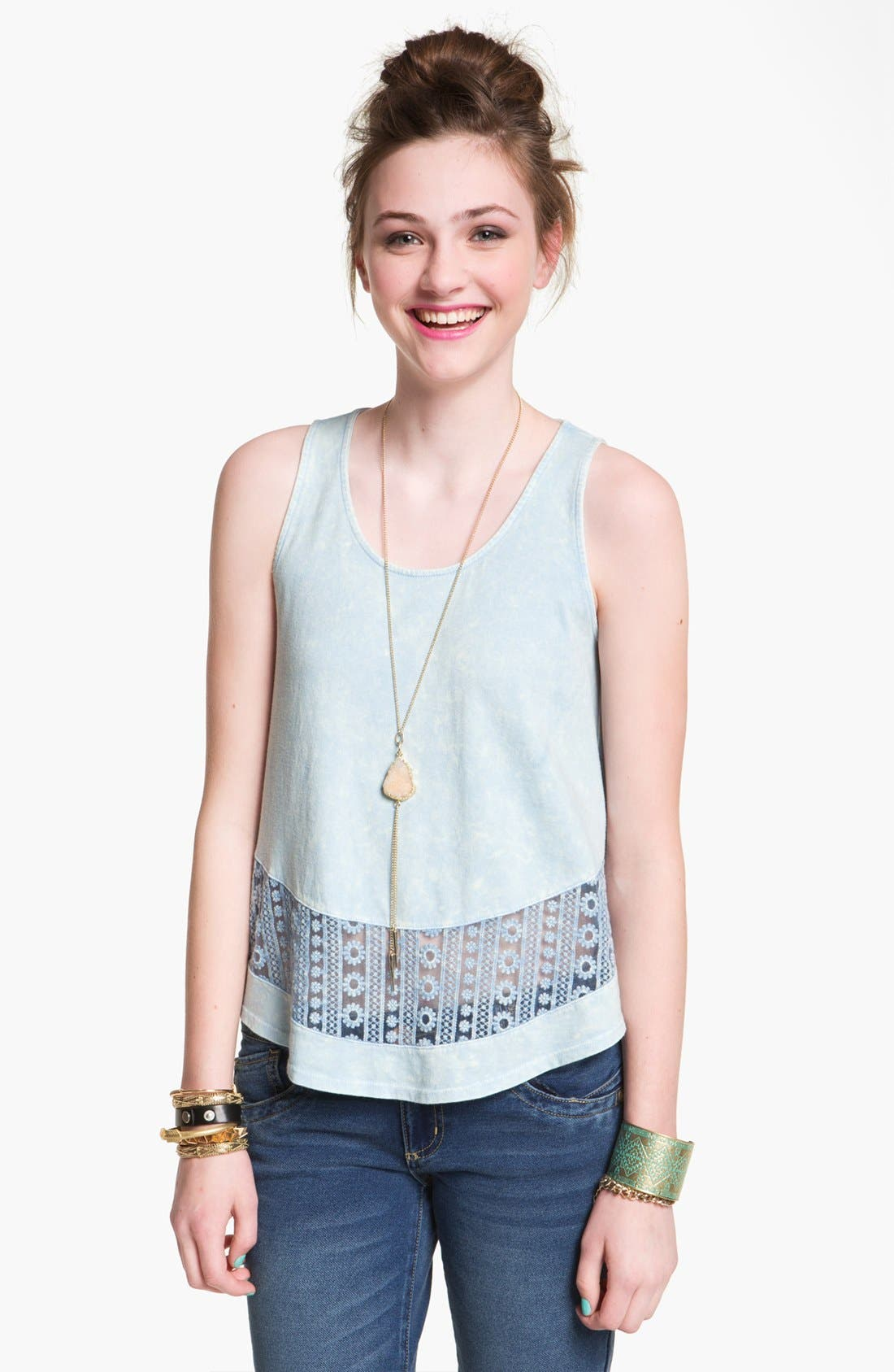 Main Image - Painted Threads Lace Trim Tank (Juniors)