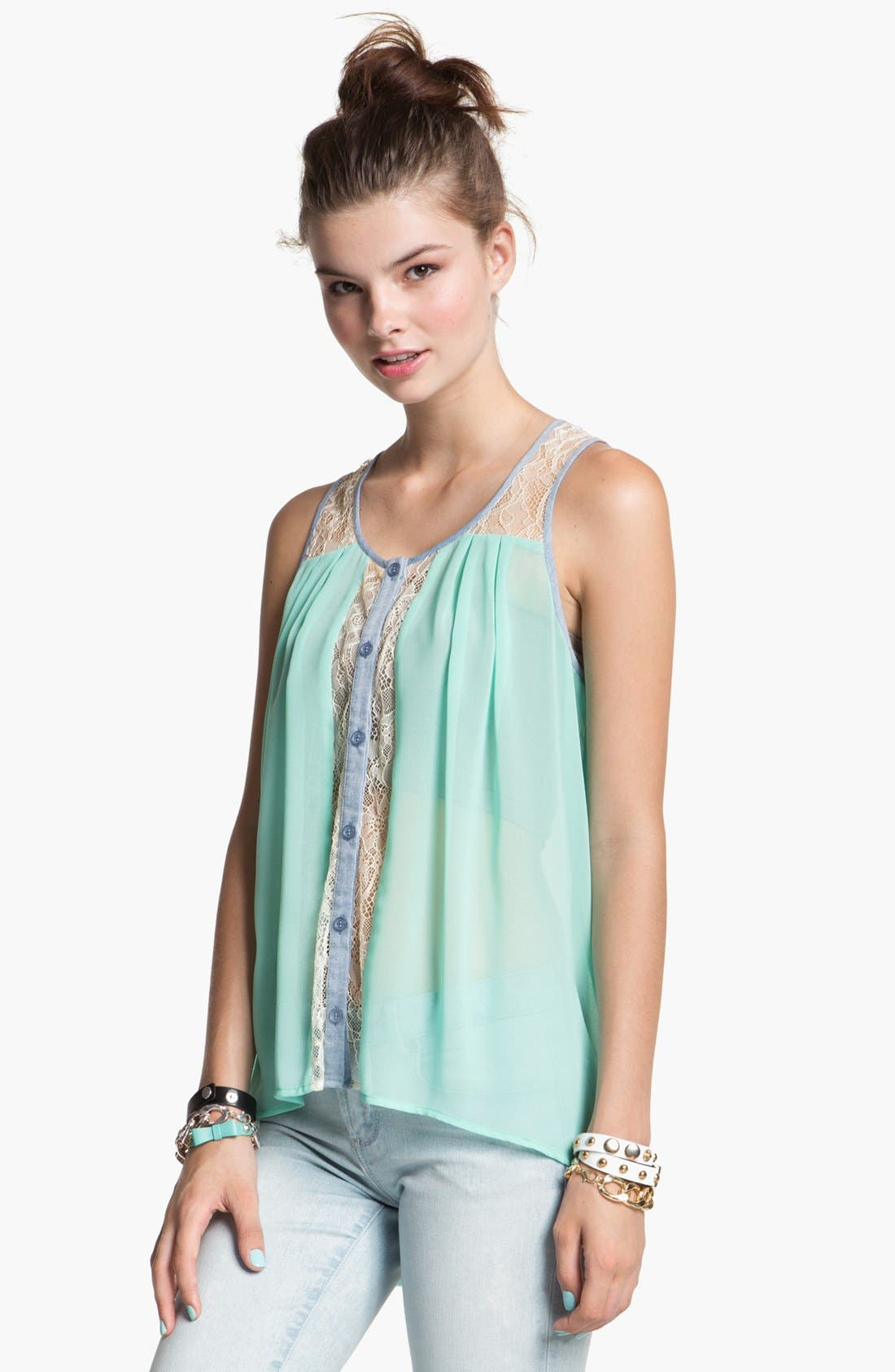 Main Image - Lush Button Front Tank Top (Juniors)
