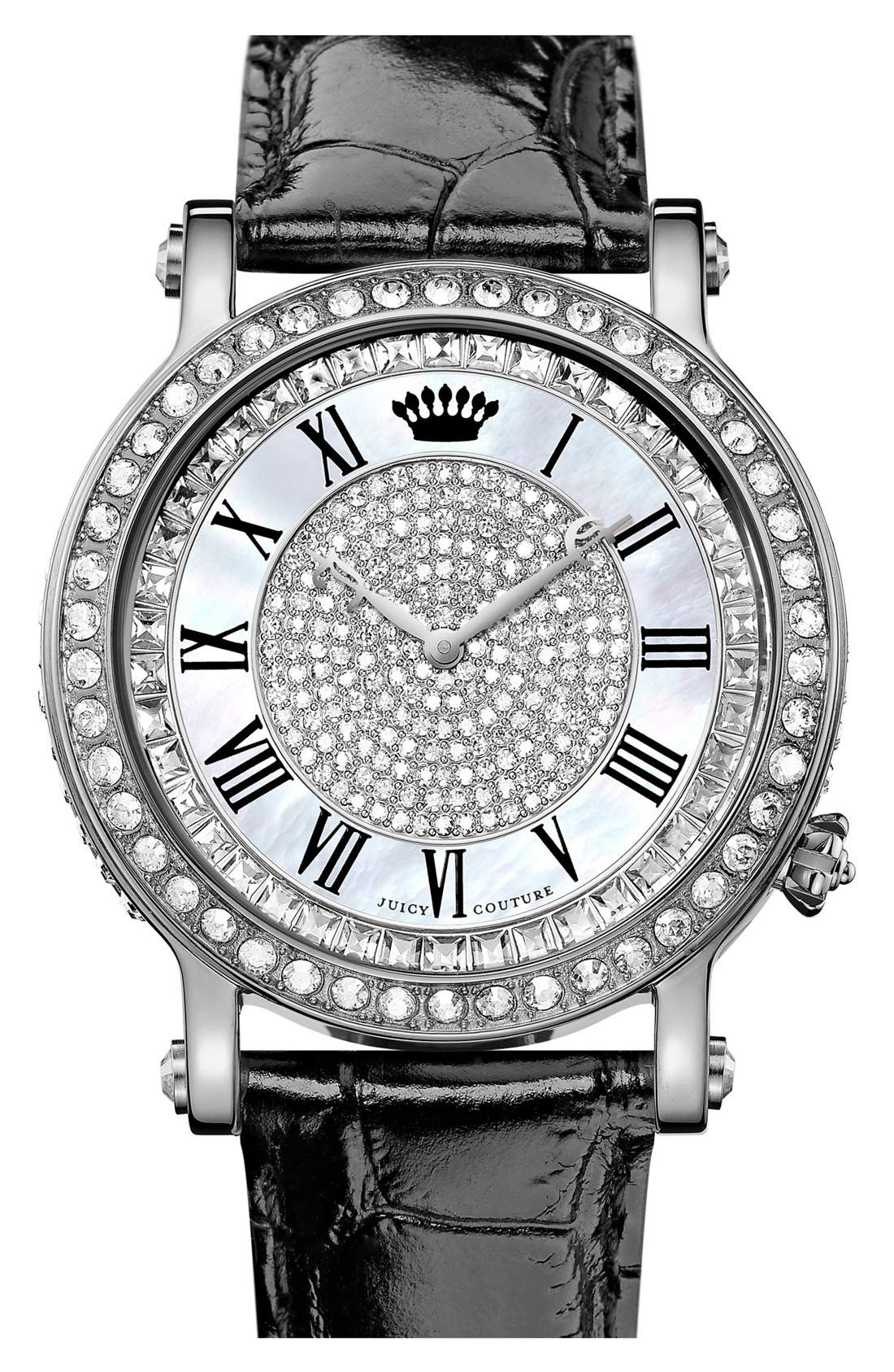 Main Image - Juicy Couture 'Queen Couture' Leather Strap Watch, 42mm