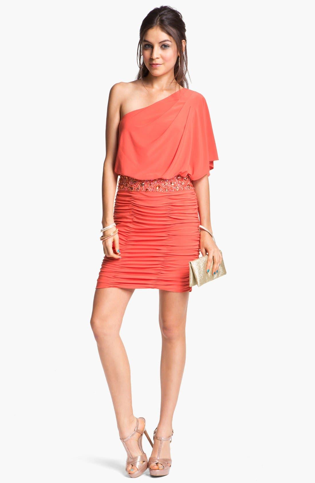 Alternate Image 1 Selected - JS Boutique Embellished One Shoulder Blouson Dress