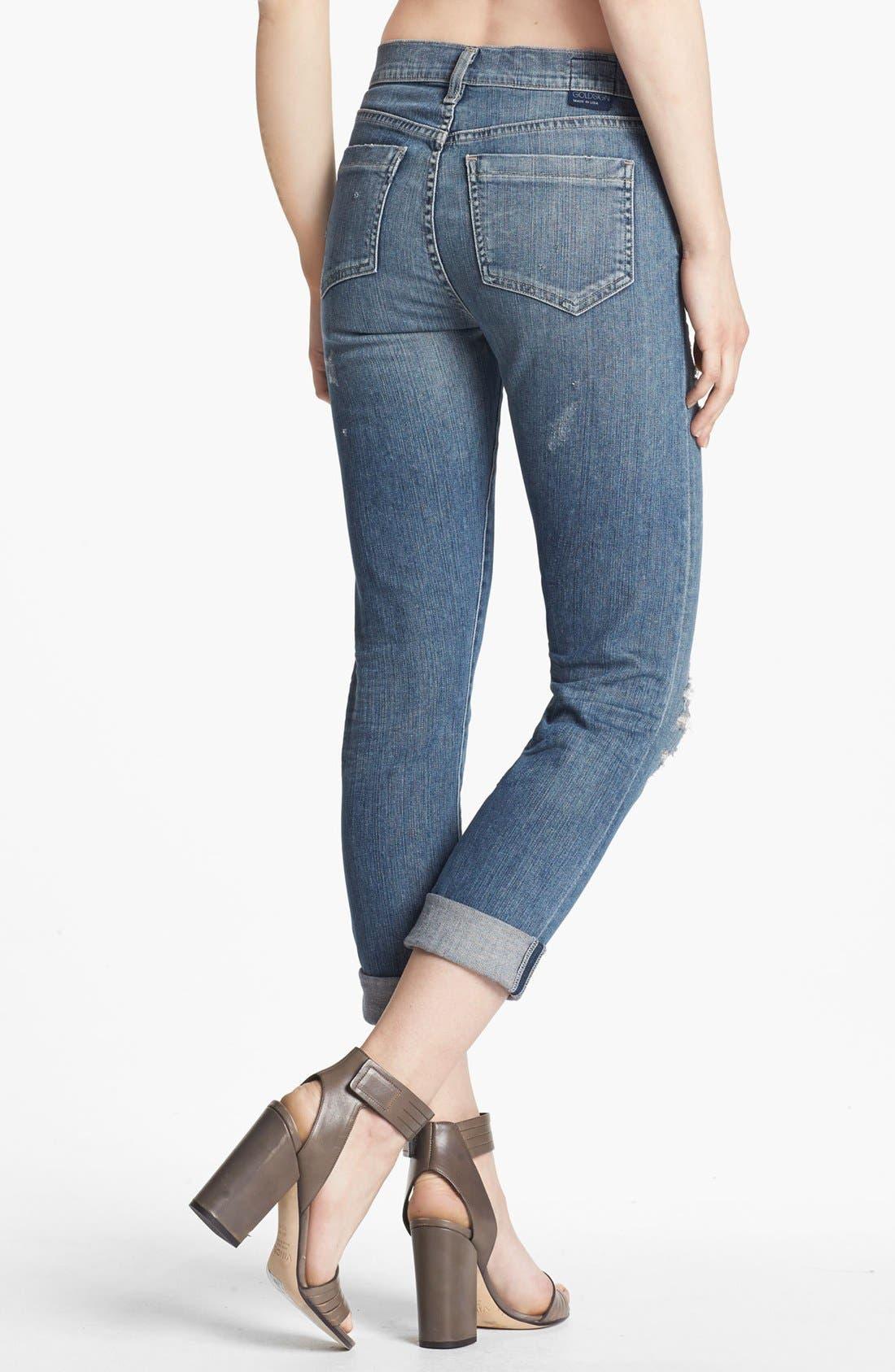 Alternate Image 2  - Goldsign 'Jenny' High Waist Crop Skinny Jeans (Nadya)