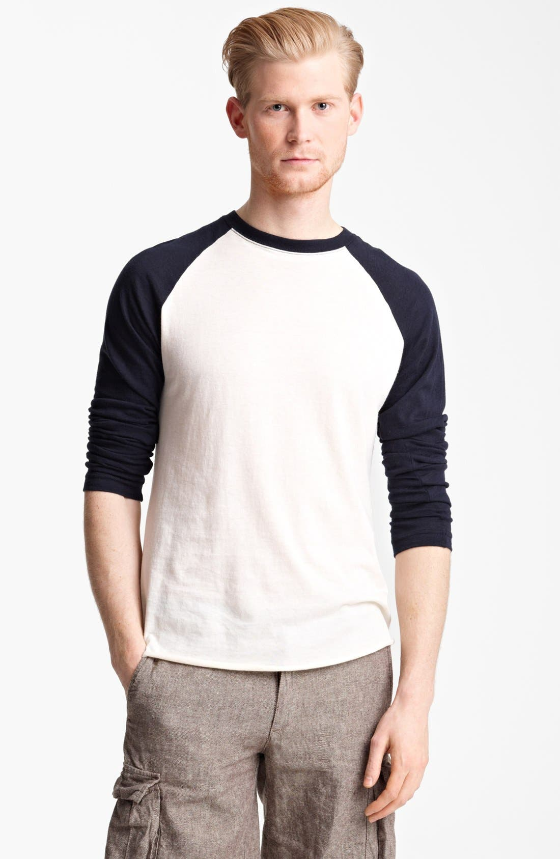 Main Image - Billy Reid Pima Cotton Cashmere Baseball T-Shirt