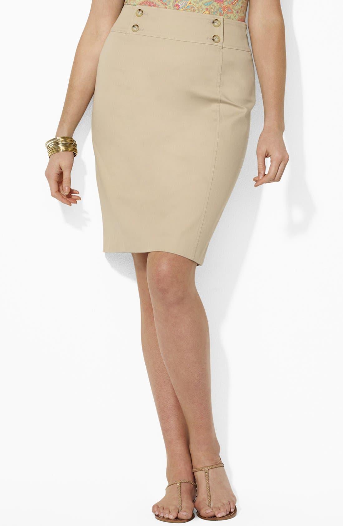 Main Image - Lauren Ralph Lauren Button Detail Straight Skirt (Plus Size)