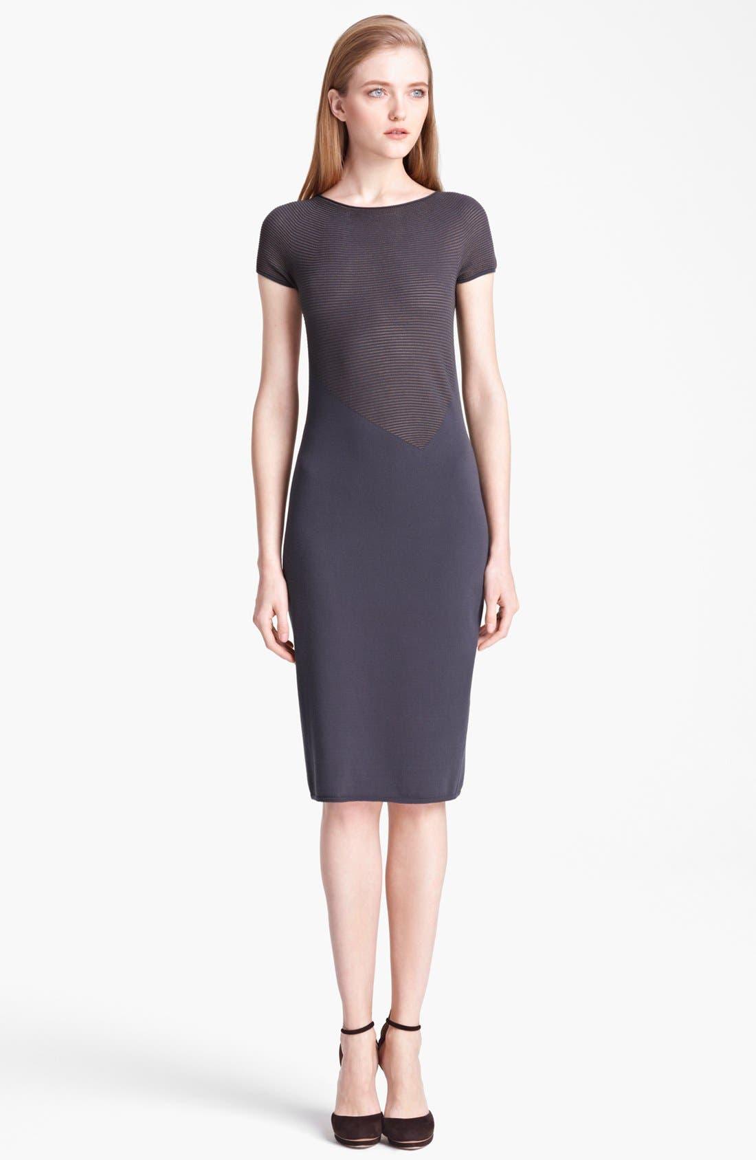 Alternate Image 1 Selected - Armani Collezioni Microstripe Jersey Dress