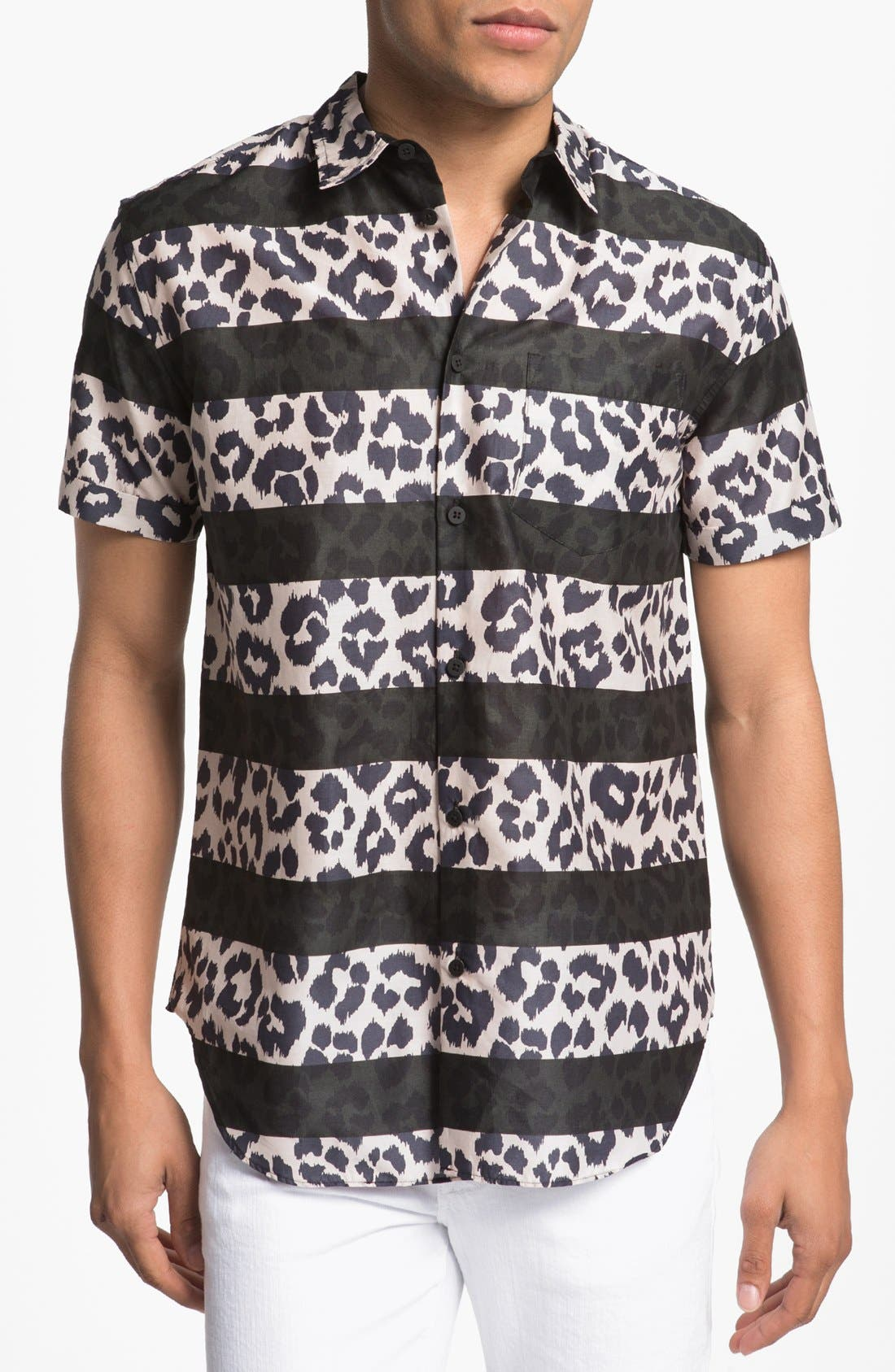 Alternate Image 1 Selected - MARC BY MARC JACOBS Stripe Cheetah Print Woven Shirt