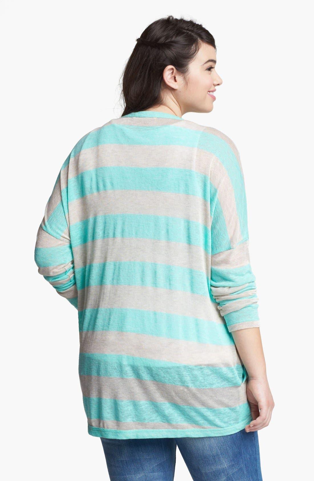 Alternate Image 2  - Painted Threads Stripe Cardigan (Juniors Plus)