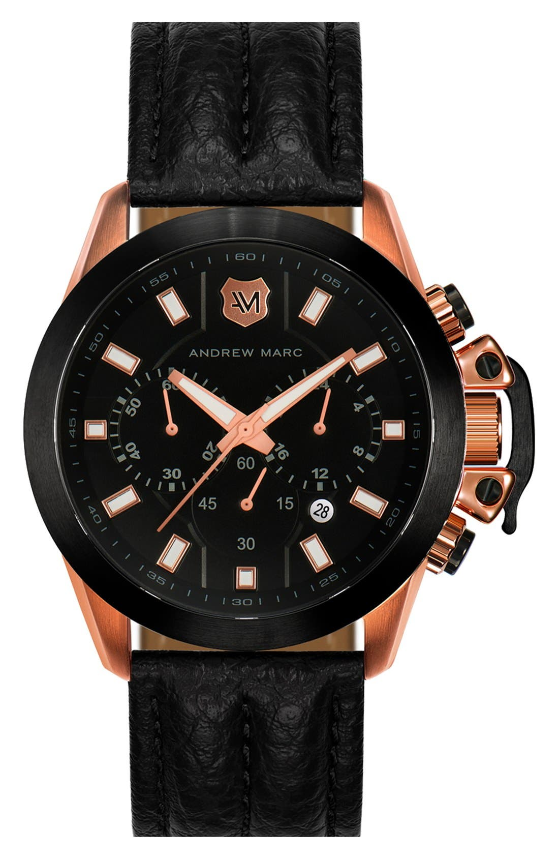 Main Image - Andrew Marc Watches Chronograph Leather Strap Watch, 45mm