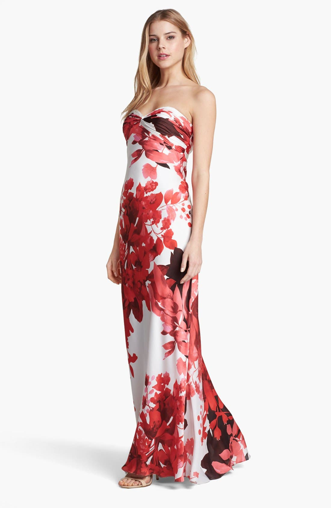 Main Image - Adrianna Papell Front Twist Floral Print Gown