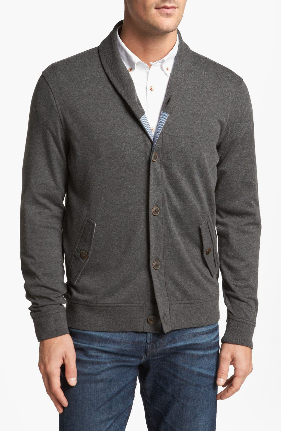 Main Image - Ted Baker London 'Norre' Shawl Collar Knit Jersey Cardigan