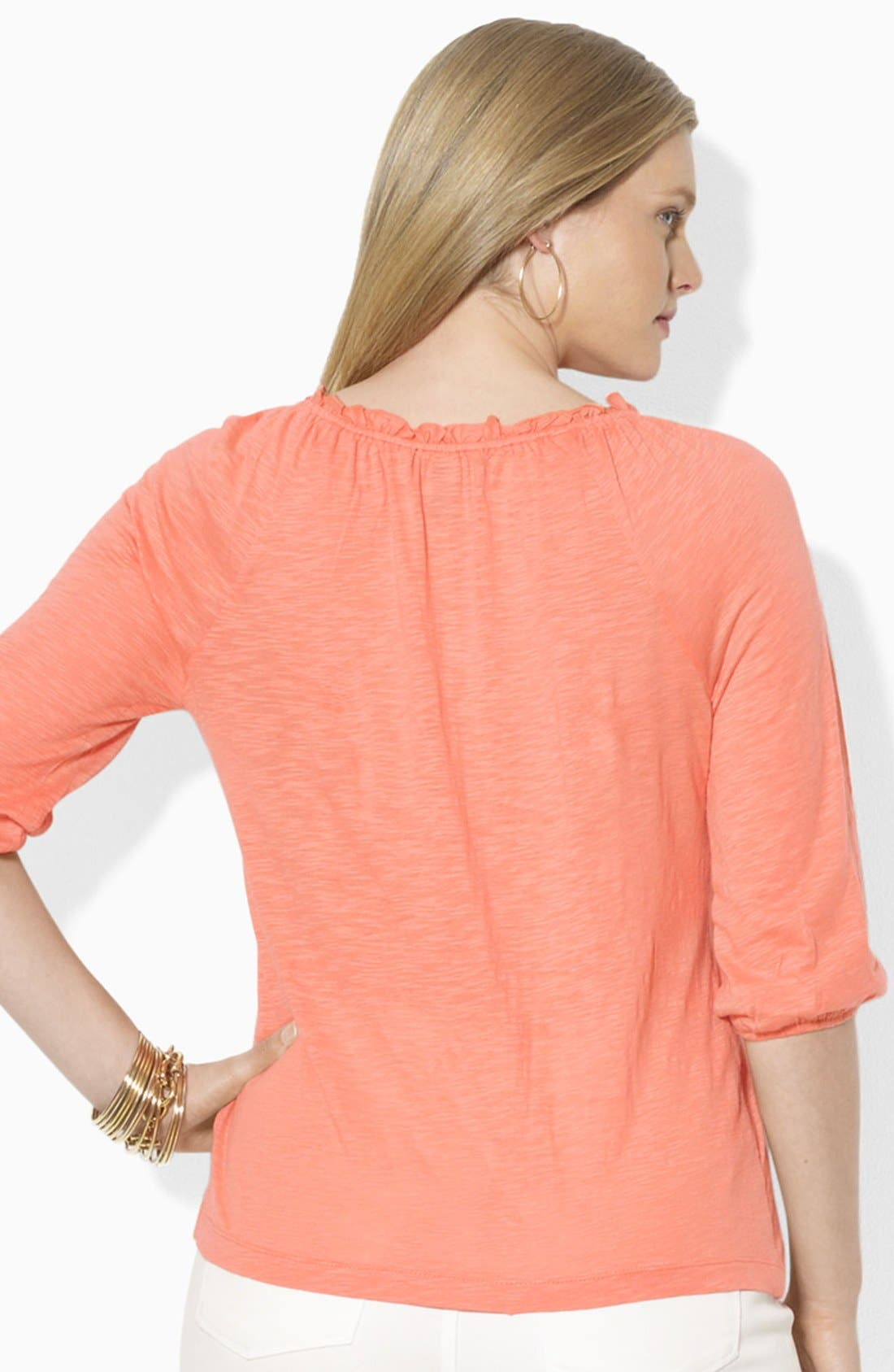 Alternate Image 3  - Lauren Ralph Lauren Pintuck Peasant Blouse (Plus Size)